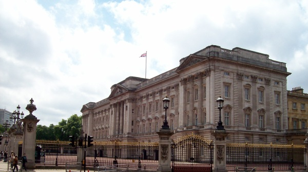 Buckingham Palace, looking stern, in London.