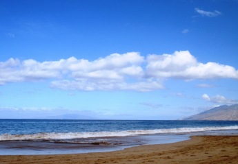 It's easy to have peace of mind (not piece of mind) when you're relaxing on this gorgeous beach on Maui (Photo by Cindy Fazzi).